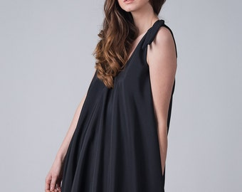 Black long light dress / Voluminous black woman's dress / Sleeveless long woven dress / Fashion black long dress / Fasada 1709