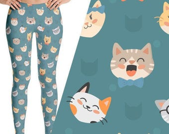 Cute Cat Print Leggings, Hipster Cat Leggings, Cat Print Yoga Pants, Hipster Cat, Cute Cat Yoga Pants, kitten leggings, cat face leggings