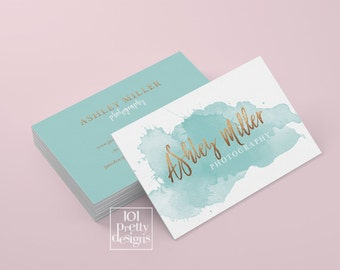 Watercolor business card template rose gold printable business card design gold and blue business card rose gold foil makeup artist glitter