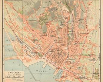 1927 Cagliari Sardinia Italy Antique Map