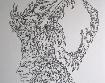 Line Drawing Monster : Pen art drawing line detailed leaves trees