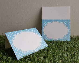 Blue Polka Dot Paper Place Cards with Border 10pcs