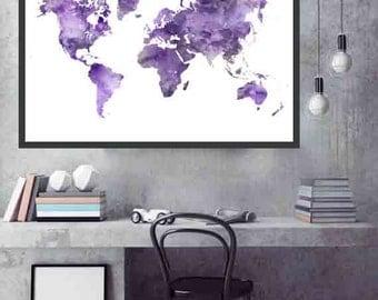 Lavender World Map Lilac World Map Lavender and Lilac wall Decor World Map Decor Watercolor Map