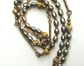 Gold links pearls, bracelet necklace, small long necklace, travel jewelry, vintage link chain, wrap jewelry, hand made