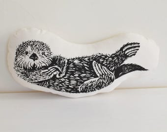 Otter Plush - Otter Pillow - Organic Cotton - Animal Accent Pillow - Sea Otter Throw Pillow - Animal Pillows - Plushie - USA Made Home Decor