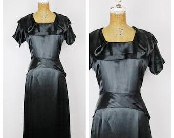 SALE Vintage 1940s Dress / 40s Black Satin Dress / One Size