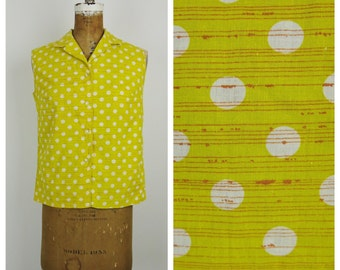 Vintage 1950s Blouse / 50s Citron Polka Dot Shirt / Medium