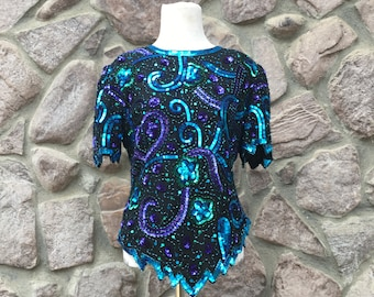 "Vintage 80s Laurence Kazar ""Mardi Gras"" Purple Green & Blue Sequined Party Top / Swirls and Flowers / Women's Size Medium"