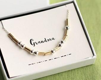 Grandma Morse Necklace, Grandma necklace, Morse Code Jewelry, Grandma Gift, New Grandma, Grandma Jewelry Gift, Gifts for Grandma, Nana Gift