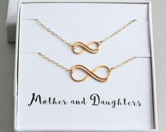 Mother Daughter Necklace Set, Gift from daughter, Mother Daughter Gift, Mother Daughter Jewelry, Gold Infinity Necklace Set, Mother Jewelry