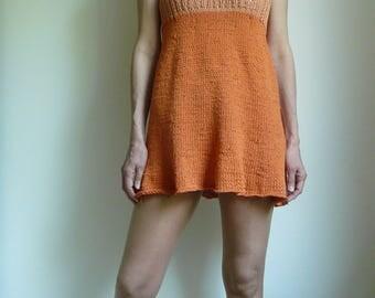 orange mini dress, tunica, knitted,
