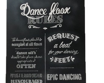 Dance floor rules chalk board/ Wedding sign (3)