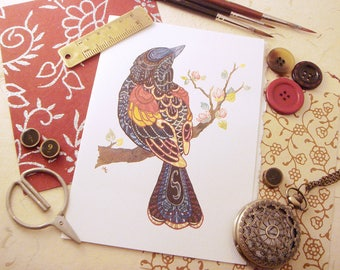 Watercolor Red-winged Blackbird Print Greeting Card