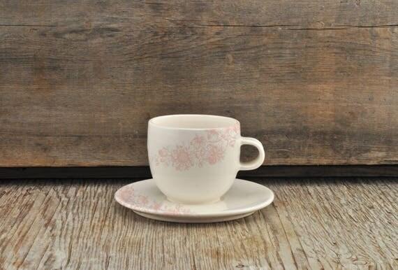 Porcelain espresso / tea cup and saucer with vintage pink flower illustration