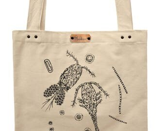 Planktonic love - hand printed cotton tote bag