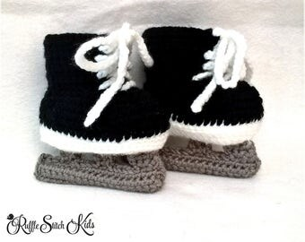 Custom Order Hand Crochet Baby Ice Hockey Skates Newborn-12mos