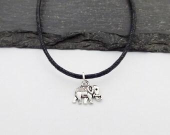 Elephant Choker Necklace, Elephant, Charm Necklace, Black Cord Necklace, Elephant Necklace, Charm Choker, Elephant Choker, Elephant Gift