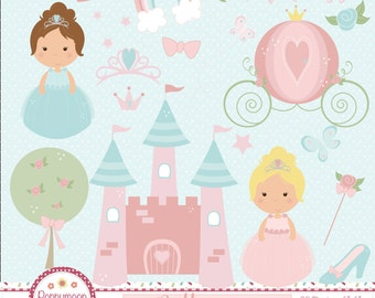 Pretty princess, carriage and castle, pastel colours, printable digital clipart set