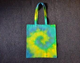 Blue yellow hippie tie dye spiral tote bag