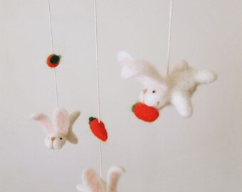 Nursery mobile - felted bunny and carrot mobile - felted bunny mobile - felted rabbit mobile - baby crib mobile - nursery decor