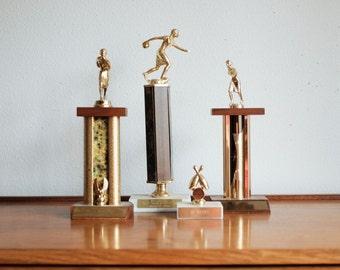 Vintage Bowling Trophy Set