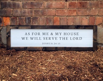 As For Me and My House We Will Serve The Lord | Black on White with Wood Frame