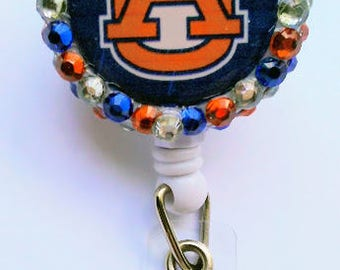 Auburn Badge Reel, Retractable Badge Reel, Lanyard, Rhinestone, RN, LPN, CNA, Pediatric Nurses, Graduation Gift, Tigers, Football