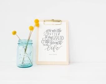 julia child quote | hand lettered print | inspirational quote | kitchen print | kitchen decor | anniversary gift | wedding gift | love print