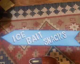 reduced Vintage  Sign for Bait Ice Snacks..Great for Pool or Boat
