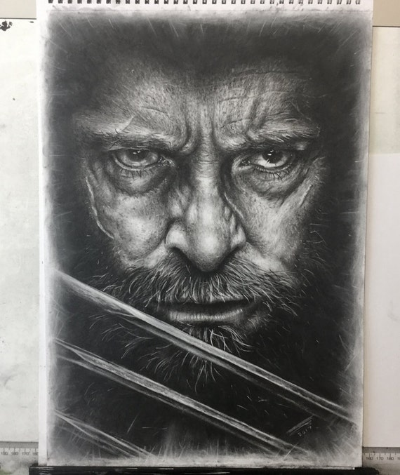 Hugh Jackman as Old Man Logan charcoal drawing