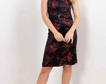 90s Black & Red Oriental Jacquard Satin Strapless Dress / Cherry Blossom New Wave Party Dress