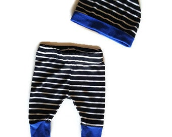 Baby boy clothes, trendy baby boy, baby leggings, striped baby set, baby leggings, baby beanie and pant, baby boy gift, black and white baby