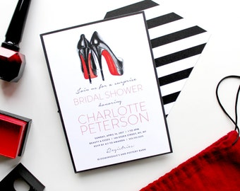 Bridal Shower/Bachelorette Party 5x7 Invitation with hand-painted Louboutins - Red Soles - Printable and Personalized