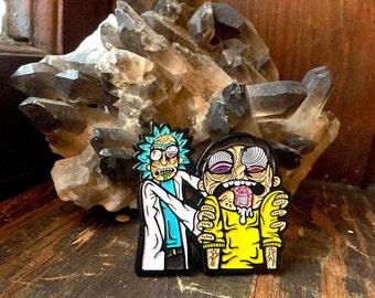 Rick Dosing Morty Hat Lapel Pin EDM Festival Rave Snapback Psychedelic Trippy LSD Acid