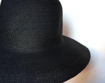 Black Toyo Sewn Straw Braid Capeline - USA