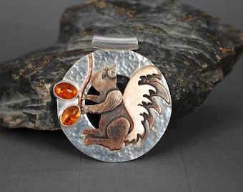 Squirrel Pendant, Silver and Bronze Squirrel Pendant with Baltic Amber  J-2175