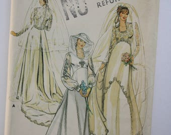 Bridal Gown, Wedding Dress Sewing Pattern, Size 10, bust 38, UNCUT Butterick 3945, semi-fitted, empire waist, lace bodice, detachable train