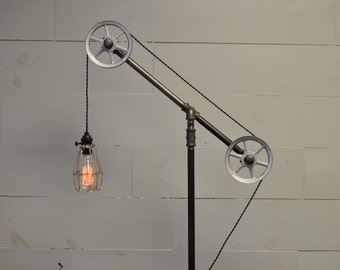 Floor Light - Industrial Lamp - Pulley Light - Industrial Furniture - Restoration hardware - Pipe Lighting - Home Lighting - Industrial Chic