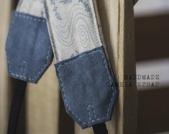 Handmade Camera Strap *blue floral pattern*