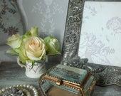 Antique French glass casket trinket box jewellery box