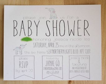 40 Pack Baby Shower Invitation Set // Baby Elephants Themed Party Invite and Save the Date // Animals Baby Shower for Boy or Girl Unisex