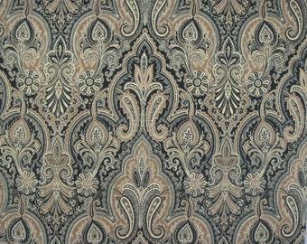 Fabric shower curtain P Kaufmann framed paisley cream teak ebony 72 x 84 108 long shower curtain Extra wide shower curtain