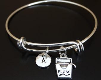 Dental Floss Bangle Bracelet, Adjustable Expandable Bangle Bracelet, Dental Floss Charm, Dental Floss Pendant, Dental Bangle, Dentist Bangle