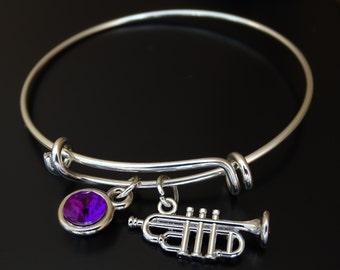 Trumpet Bangle Bracelet, Adjustable Expandable Bangle Bracelet, Trumpet Charm, Trumpet Pendant, Trumpet Jewelry,Trumpet Instrument,Orchestra