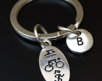 Triathlon Keychain, Custom Keychain, Custom Key Ring, Triathlon Key Chain, Triathlon Charm, Triathlon Pendant, Triathlon Gifts, Triathlete
