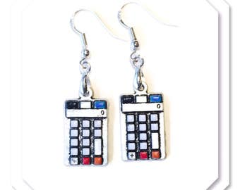Calculator Math Wizard Earrings, 925 Sterling Silver Wires, I Love Math Philomath Calculus Statistics Mathematician Gifts for Teachers