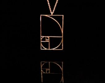 Golden Phi Spiral Rectangular Grid Pendant