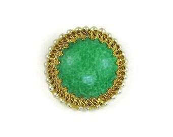 Vintage Faux Jade Dome Brooch