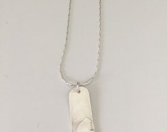Bird on a wire, pendant necklace, fine silver with sterling silver chain, embossed