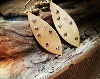 Swarovski Crystal Earrings, Satin Brass Crystal Studded Earrings, Gold Dangle Earrings, Matte Gold Earring, Art Wear, One of a Kind Earrings